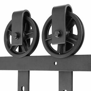 6.6ft Barn Door Hardware Big Wheel Slid Heavy Duty Single Rail Roller Track Kit