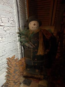 Primitive Snowman dollChristmas feather tree  Handmade OOAK