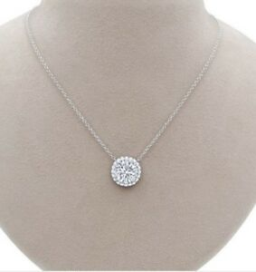 14k White Gold Over 2Ct Round Cut DVVS1 Diamond Halo Pendant Necklace