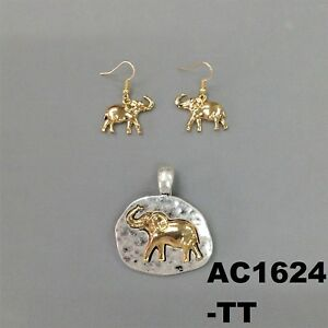 Hammered Gold Elephant Silver Finish Necklace Round Pendant Earrings AC1624 TT $9.99