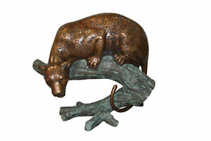 Leopard on a Tree Trunk Bronze Statue -  Size: 38