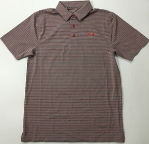 Under Armour Men's Golf Polo Heat Gear Gray Red Stripes 1311008 Size L 600