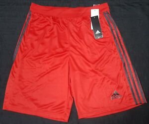 Adidas Men's D2M 3 Stripes Basketball Climate Fabric Shorts Red black  BR1464
