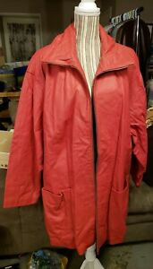 For You From Spiegel Long Red Leather Jacket Women's Size 3XL
