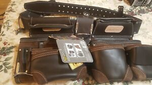 Tool Rig General Construction Durable Premium Leather Belt Large Flip Pockets