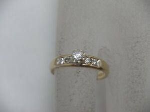 Vintage 14K Yellow Gold Diamond Engagement Ring .24 TCW Size 6