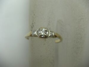 Vintage 14K Yellow Gold Diamond Engagement Ring .16 TCW Solitaire Accents 5.75sz
