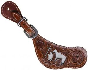 Showman Floral Tooled Leather Spur Straps w Cowhide  Praying Cowboy NEW TACK