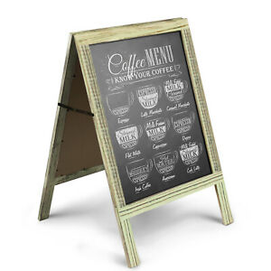 A-Frame Chalkboard Sign Rustic Wooden Sidewalk Easel Chalk Stand Menu Display