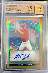 2009 Bowman Chrome GOLD Refractor Mike Trout Angels RC AUTO 50 BGS 9.5 w 10
