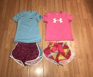 Lots 4 Girls NIKE Under Armour Pro Shirt DRI-FIT Running Shorts Youth 10-12 M