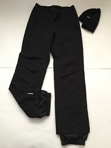 MenS Eddie Bauer Lot Weather Edge Snowboard Pants & Wind Cutter hat Black Sz S