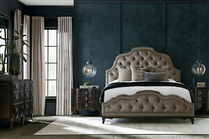 Dark Brown Finish 5pcs Designers Furniture Bedroom Set w King Velvet Bed IA86