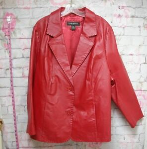 LANE BRYANT Women's Red Button Up Genuine Leather Coat Jacket (SIZE 2628)