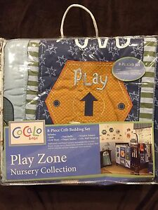 COCALO CRIB SET 8P PLAY ZONE BEDDING BOY TRUCKS WORK TOOLS CONSTRUCTION STARS