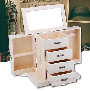 New Large White Wood Layla Jewelry Chest Box Ring Necklace Storage Case Display