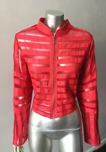 Motor Sport Faux Leather Retro Motorcycle Mesh Red Party Jacket Plus Size 2X