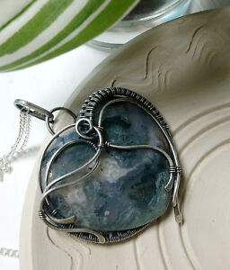 Dendritic moss agate Sterling silver necklace Heart pendant Gift for mom wife