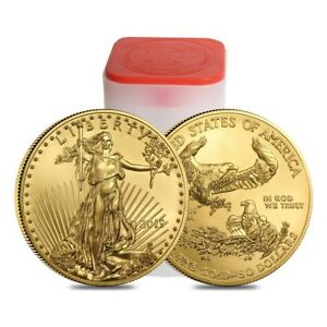 Roll of 20 - 2019 1 oz Gold American Eagle $50 Coin BU (Lot Tube of 20)