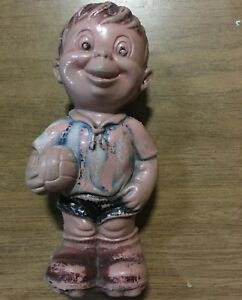 blow mold coin bank soccer player argetina world cup antique doll