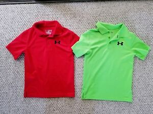 Under Armour Boy's Golf Neon Green Red Polo Shirt LOT Youth Extra Small YXS