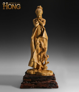 """""""The Winter"""" Beauty Girl Boxwood Carving Statue"""