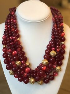 NWT CHICO'S Merlot Red & Gold Beaded Multi Strand BIB NECKLACE $69.50