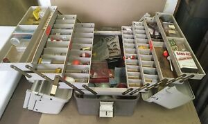 FULL Plano 8700 Fishing Tackle Box 7 Trays Lures Hooks Weights Line Bobbers