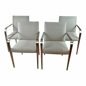Steel & Wood Designer Armchairs -Set of 4