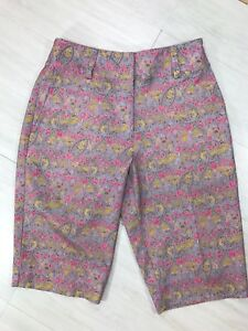 Nike Golf Womens Fit Dry Bermuda Shorts Floral Print Purple Pink Sz 4 Small