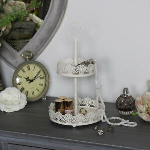 Cream metal ornate jewellery cake biscuit stand shabby vintage chic wedding home