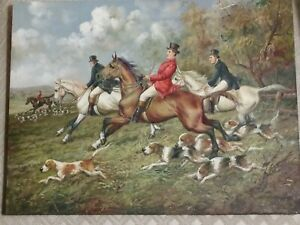 Victorian Oil Painting Fox Hunt with Dogs Original