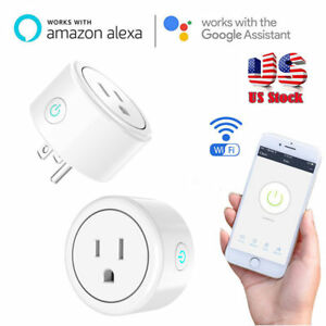 2 Mini Pack Wi-Fi Smart Outlet Remote Control Socket Switch Alexa Google US Plug