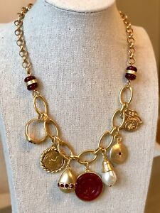 NWT CHICO'S Merlot Red & Brushed Gold Charm Faux Pearl Dangle Bib Necklace