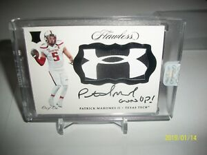 2017 Flawless Collegiate Patrick Mahomes 11 RPA Under Armour Patch Logo SEALED!