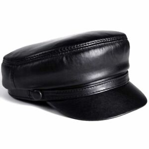 54-60 CM Balck Genuine Leather Windproof Baseball Caps Man Woman Duckbill Gorras
