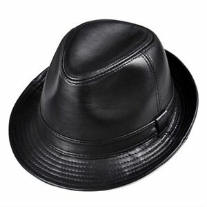 Genuine Leather Wide British Hats Gentman 55-61cm Fitted Jazz Hip-Pop Gorras