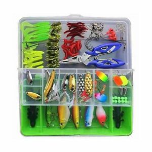 Lure set fishing gear set 100 piece set soft lure hard lure worm with fly case