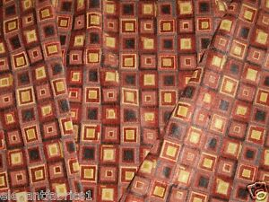 COWTAN & TOUT KALEIDOSCOPE CHECK CUT VELVET FABRIC 20 YARDS CINNABAR SLATE GOLD