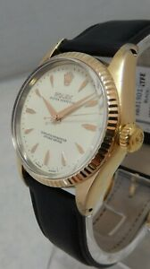 Rolex Oyster Perpetual Gold Capped Model 6634 Mens Watch On Lamb Strap 1958