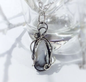 Dendritic agate pendant 925 Sterling silver necklace opal gemstone Gif