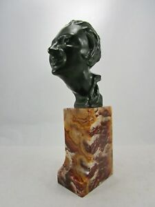 Antique E. Cavacos c1916 Signed Bronze Head Bust France  Greece 1885-1976