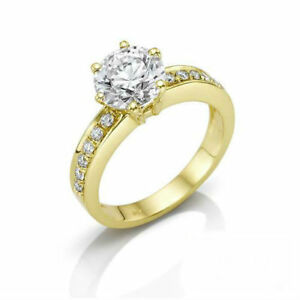 DIAMOND ROUND RING WOMENS 2.46 CT EARTH MINED ACCENTED 18K YELLOW GOLD 6 PRONGS