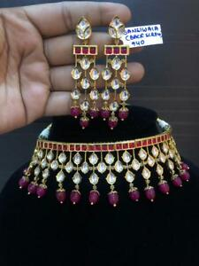 Excellent quality Handmade Fashion Kundan Choker Red Stone Necklace Set lf34939