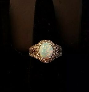 Sterling silver fire opal CZ ring size 9 C 720