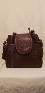 Preowned Women's Leather Ranch Solid Brown Genuine Leather Hand BagBack Pack