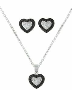 Montana Silversmiths Heart Earring Necklace Set BlackSilver Jewelry Gift Box