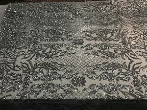 NEW Silver Fabric sequins 4 way stretch MESH lace Prom Dress By the yard