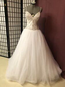 Luxury Wedding Dress Bridal Ball Gowns Size 14 White