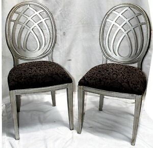 Pair of Italian Silver Painted Sigla Furniture Dining Chairs Hollywood Regency